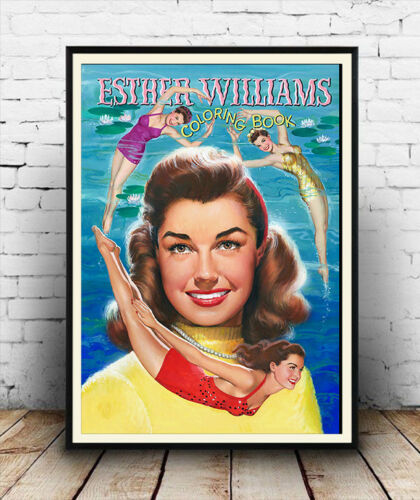 vintage Celebrity Swimmer colouring book poster reproduction. Esther Williams