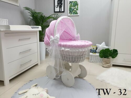 CHASSIS WICKER MOSES BASKET AND HOOD WITH TULLE BEDDING PINK STARS WHEELS