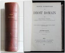 MANUALE DI DIRITTO ROMANO 1901  Girard Manuel élémentaire de droit roman