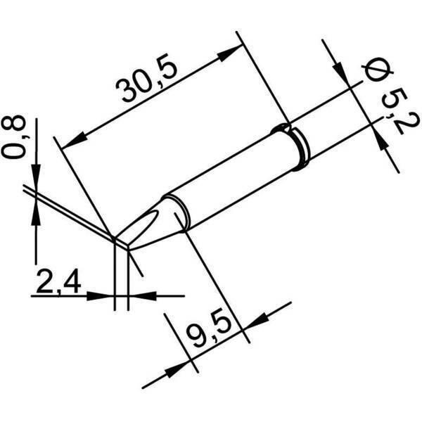 Ersa 102 cd lf 24 punta di saldatura forma a scalpello dritta dimensione 2.4 mm