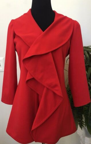 Jacket 4 Euc Coat Polyester Career Twill Klein Wmns Sz Calvin Blend Rød Ruffled P7wZzTnqx