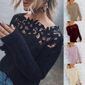 Women-Fluffy-Sweater-Jumper-Long-Sleeve-Casual-Patchwork-Pullover-Blouse-Tops