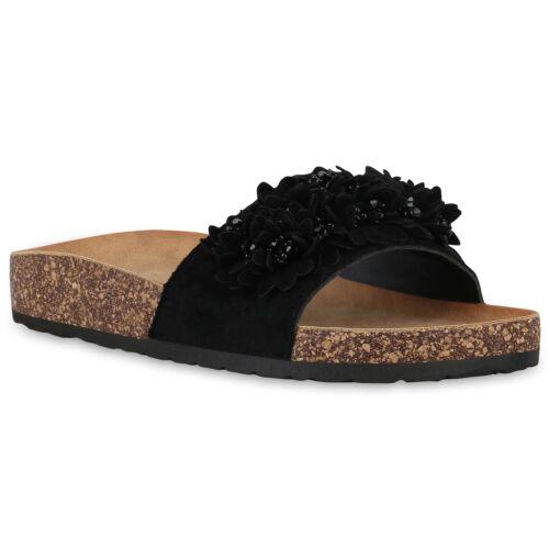 Damen Sandalen Pantoletten Sommer Hausschuhe Korkoptik Schlappen 830166 Schuhe