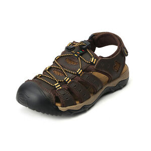 Image Is Loading Mens Size Hiking Genuine Leather Sandals Closed