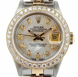 Rolex Datejust Lady Yellow Gold & Steel Watch MOP Diamond Dial 1ct Bezel 69173