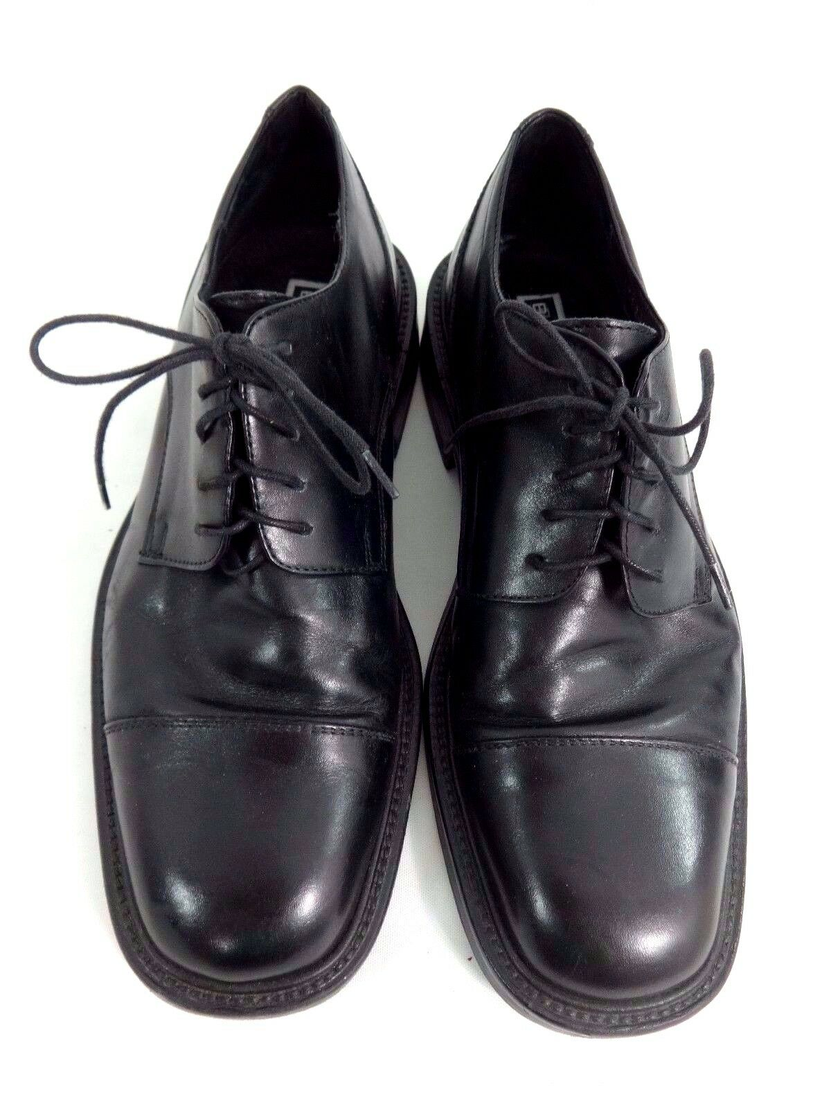 BACHRACH MENS BLACK LEATHER CAP TOE DRESS OXFORDS SHOES SIZE 40   7.5 US