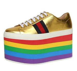 590e1be1829 Image is loading GUCCI-Womens-Metallic-Leather-Platform-Sneakers-Sz-37-