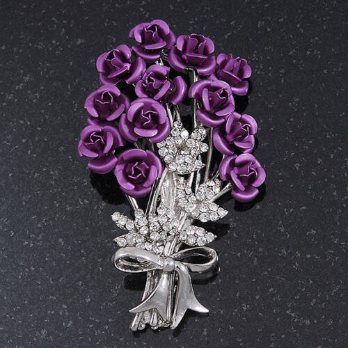 Violeta /'bunch of Roses/'S Diamante Broche En Plata Chapado-longitud 6.5cm