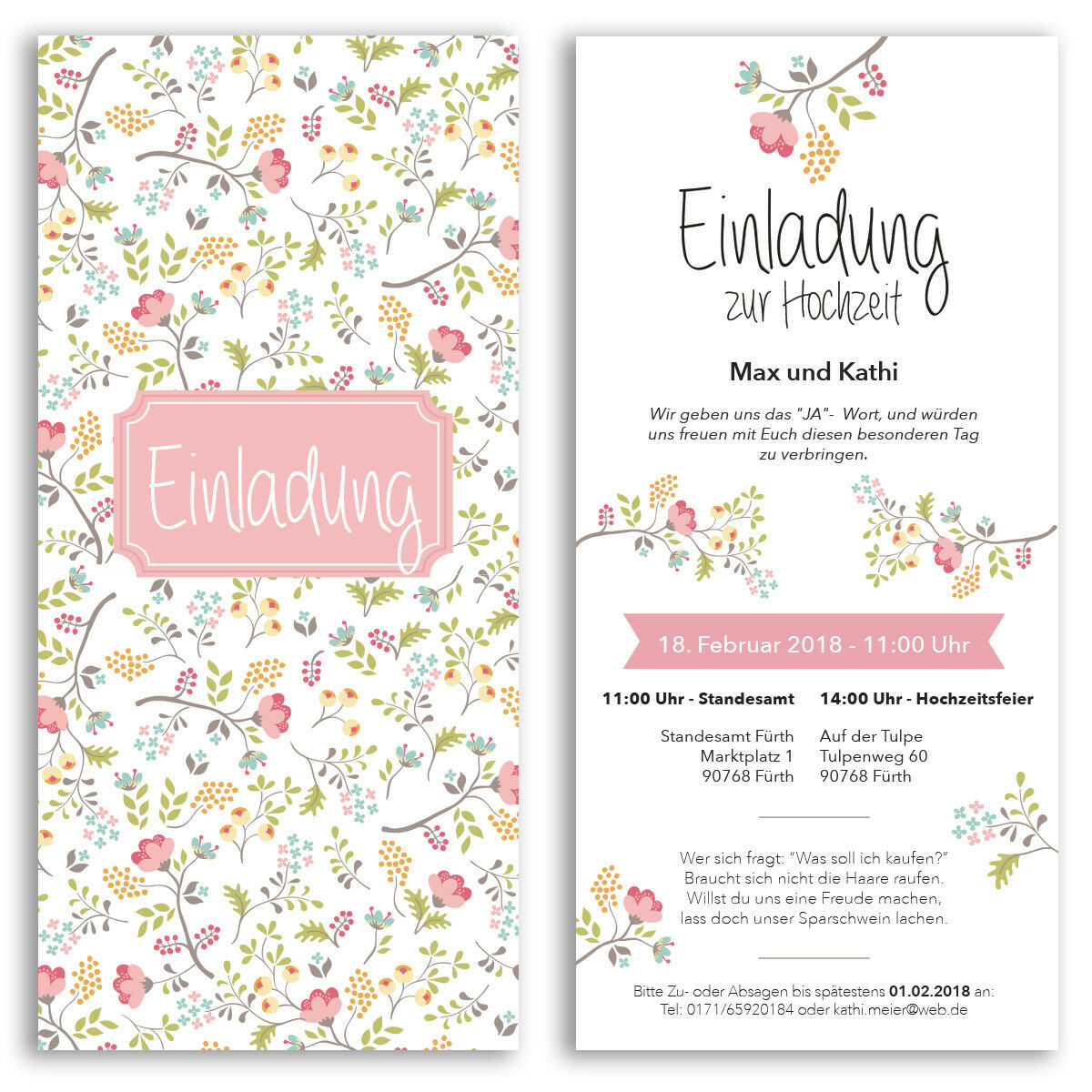 Einladungen zur Hochzeit Blaumen Motiv Einladungskarten Karten