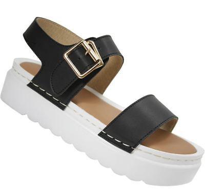 S354-Sandalias De Suela Plataforma Gruesa Damas Plano Zapatos-Reino Unido 7 & 8