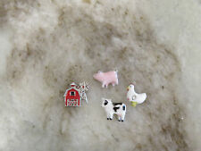 ORIGAMI OWL  LIMITED EDITION PIG COW CHICKEN AND BARN LOT OF 4 CHARMS NEW ******