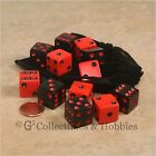 NEW 12 Black & Red Gaming Dice + Bag Set D&D RPG Game Bunco Game D6