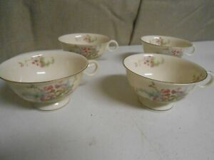 Vtg 4 Theodore Haviland New York Apple Blossom China Tea Cup Lot Gold Trim