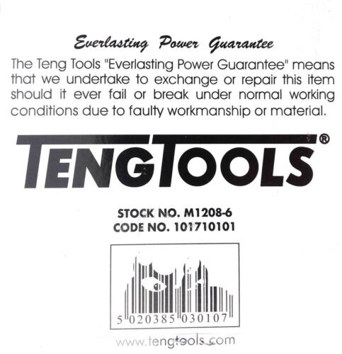 "Teng Tools M1208-6  1//2/"" Drive 101710101 8PC  6PNT Hex 13mm-24mm Deep Socket Set"