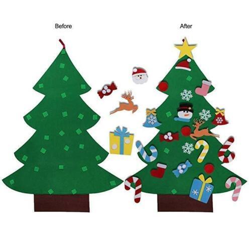 Kids DIY Felt Christmas Tree With Ornaments Xmas Gift Wall Hanging Decor