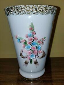 Vintage Lefton Hand Painted-Beautiful Pale Pink Vase-Raised Flowers-Gold Trim