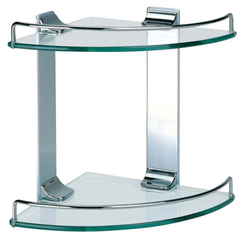 DOWELL 2005 001 02 Bathroom Shower Double Corner Glass Shelf Chrome Finish