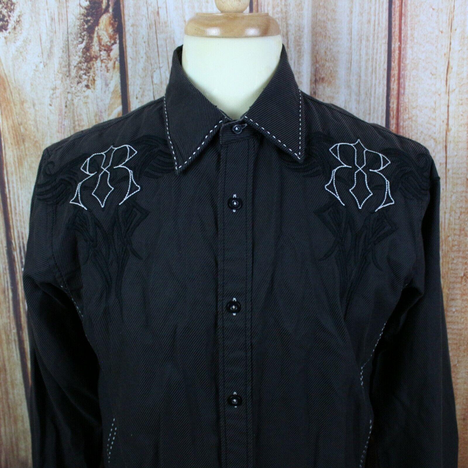 a08acb3b Roar Signature Men's Button Down Embroidered Shirt Sz Medium Brown Long  Sleeve