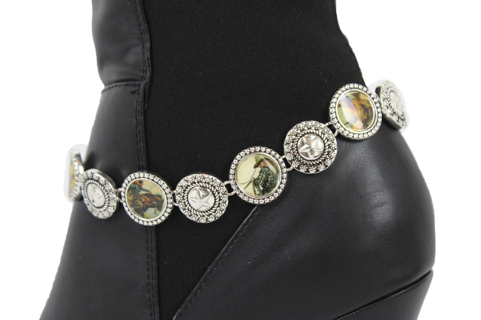 Women Silver Metal Chain Boot Bracelet Western Charm Bling Texas Star Charming