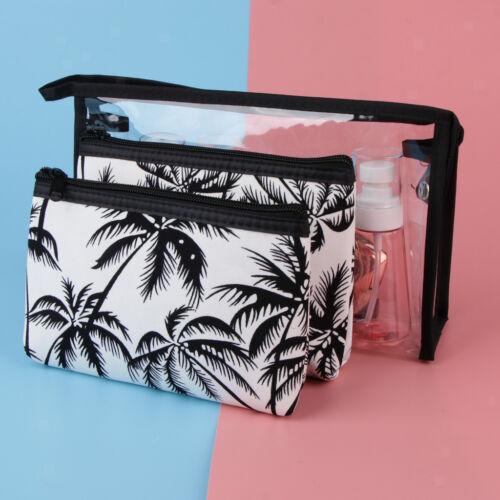 Klare Kosmetiktasche Reise Kulturbeutel Coconut Tree Pattern Makeup Bag 3 in