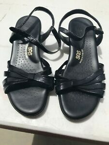 SAS-Women-039-s-Black-Leather-Strappy-Slingback-Open-Toe-Comfort-Sandals-Size-11WW