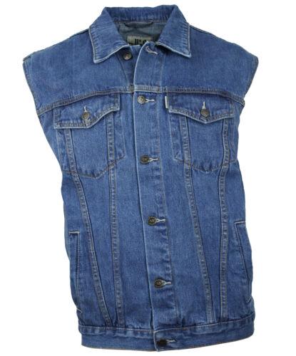 Western-Speicher Gilet en Jeans Denim Hommes Motard Gilet Bure BLEU S - 4XL