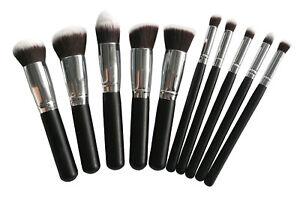 Pro-10-pcs-black-brush-set-Flat-top-foundation-Face-powder-Contour-High-quality