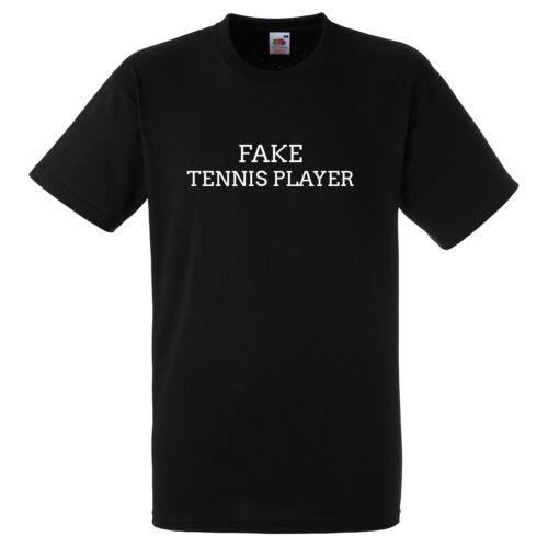 FAKE TENNIS PLAYER FUNNY BLACK T SHIRT GIFT PRESENT