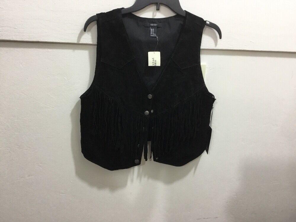 Ladies Size Medium Nwt Fringed Snap Front Leather Vest