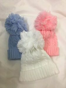 baby babies BOBBLE HAT pink white blue boys girls winter HAT hats 0-12 MONTHS