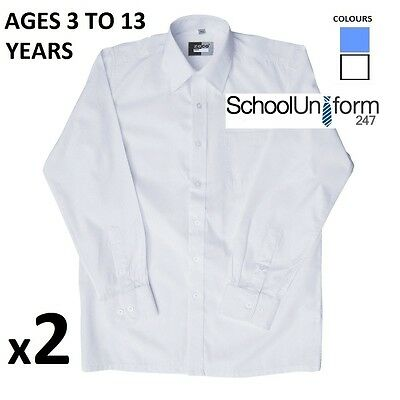 BOYS LONG SLEEVE SHIRT TWIN PACK SCHOOL UNIFORM WHITE SKY BLUE Twin Pack