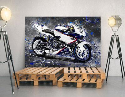LEINWAND BILD BMW HP2 SPORT MOTORRAD ABSTRAKT KUNSTDRUCK POSTER DEKO WAND BILDER