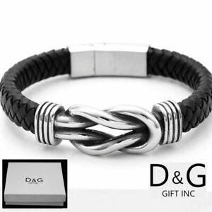 """NEW DG Gift Inc Men Stainless Steel 8/"""" Black Braided Leather Bracelet Unisex+Box"""