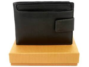 Mens-Superb-Quality-Leather-Tabbed-Wallet-by-Bloomsbury-Gift-Box-Black