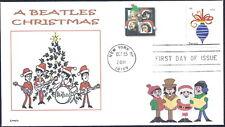 A BEATLES CHRISTMAS  TREE  SANTA  HATS  BAND SINGING  CAROLS   FDC- DWc CACHET