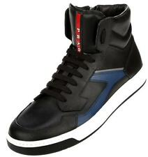 NEW PRADA MEN'S BLACK LEATHER CURRENT HIGH TOP BOOTS SNEAKERS SHOES 8/US 9