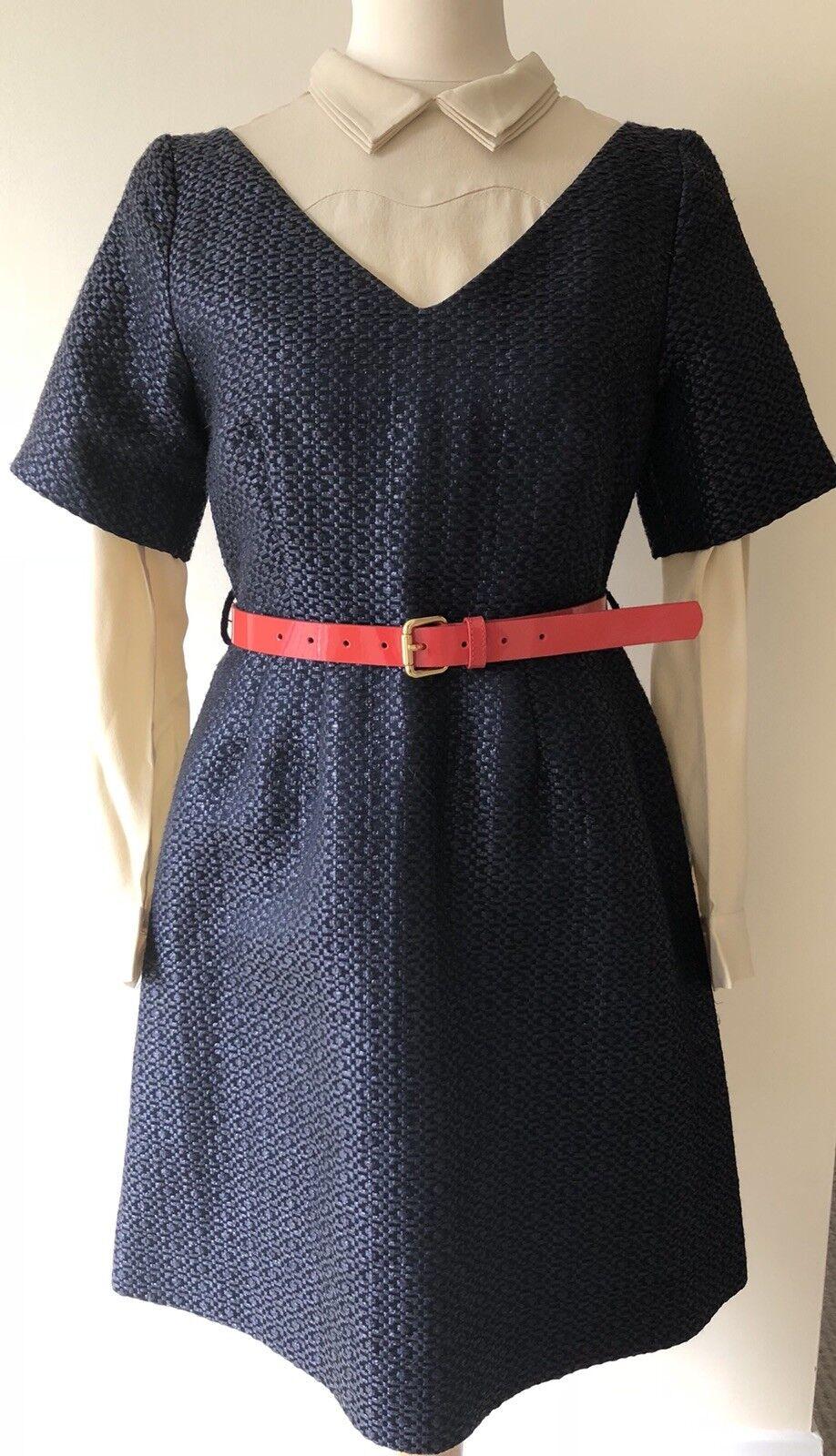Orla Kiely Azul Marino Vestido Con Cinturón De Charol  Rojo Talla 8  forma única