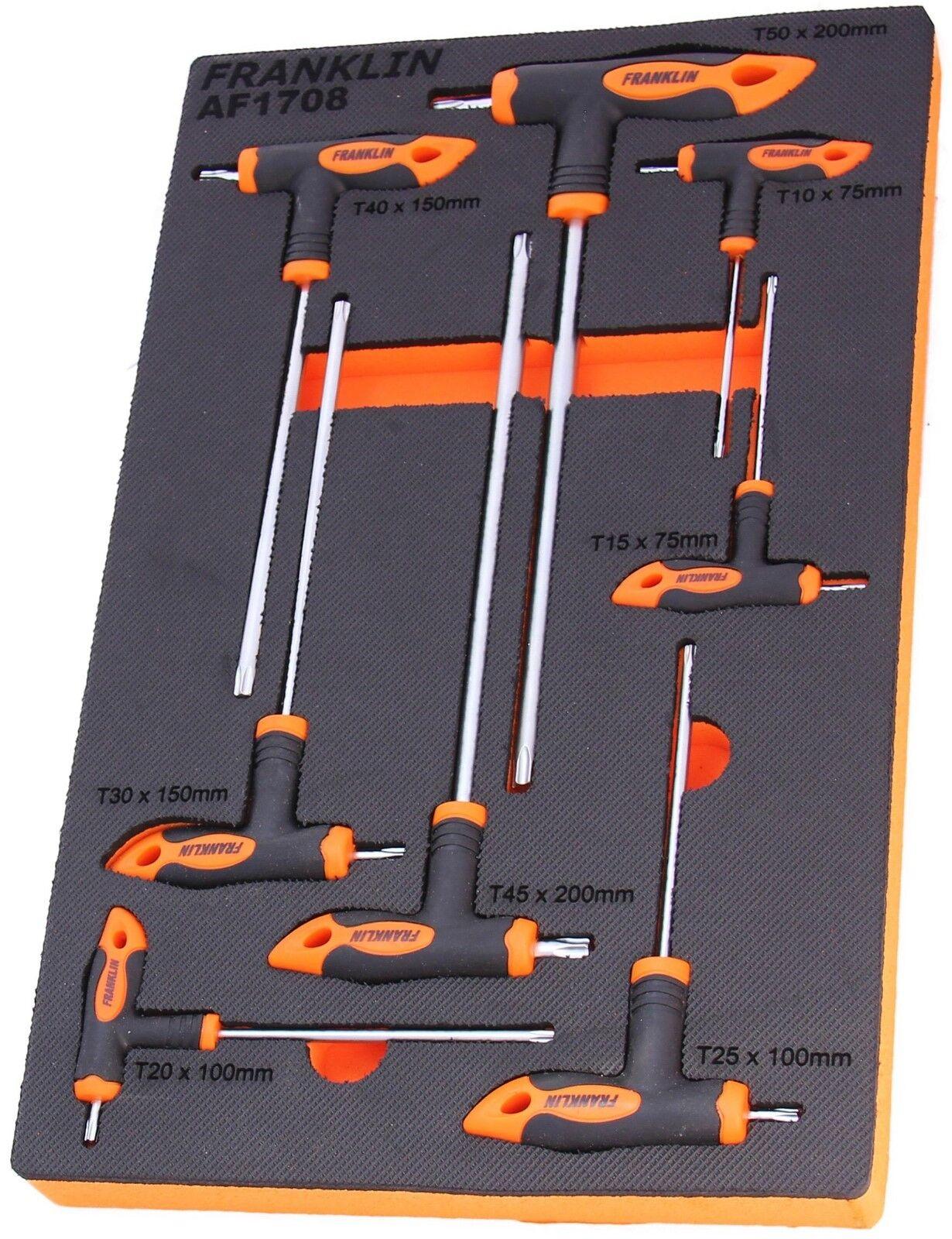 Franklin Tools 8 Piece T-Handle Torx Star Key Set T10 - T50 in EVA Foam AF1708