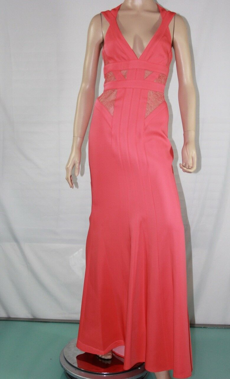 448 NEW Women's BCBG MAX AZRIA Reese Reese Reese Lace-Insert Satin Gown SZ 6 Ambrosia 23518a