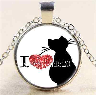 I Love Cat Photo Cabochon Glass Tibet Silver Chain Pendant Necklace