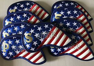 9X-Embroidery-Golf-Iron-Cover-Headcover-Synthetic-Leather-Gift-All-Fit-US-Flag