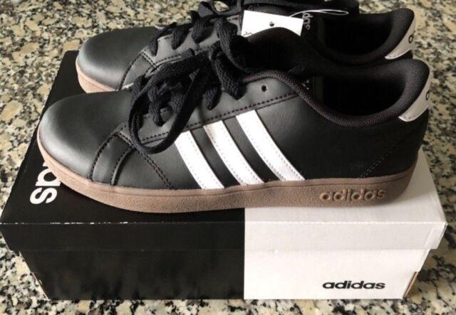 647575f56121 New Adidas Original Boys Kids Shoes Baseline K Fashion Sneakers Black Size 5
