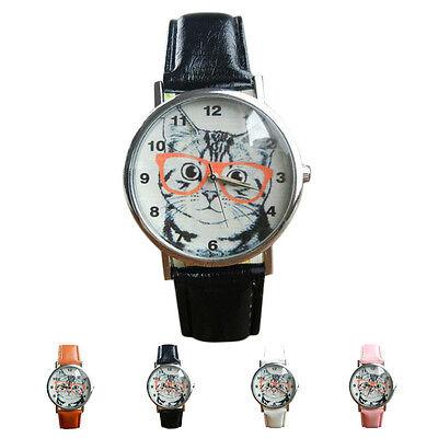 UNISEX Watch Cat Pattern Leather Band Analog Quartz Vogue Wrist Watch Free Ship