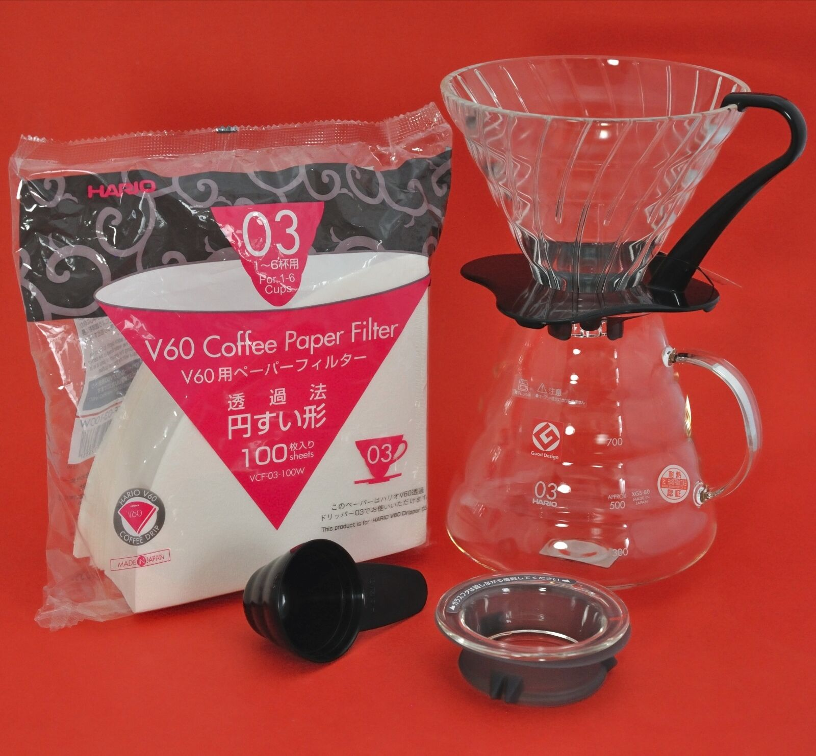 HARIO Cafetière Filtre Verre Goutteur V60 XGS-36 XGS-60 XGS-80 VDG-01 VDG-02 03
