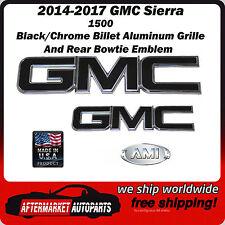 2014-2017 GMC Sierra 1500 Black Chromed Grille & Tailgate Emblem AMI 96514KC