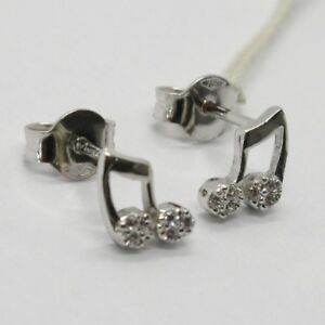 Juste 18k White Gold Earrings, Mini Musical Note, Zirconia, Length 8 Mm, Made In Italy
