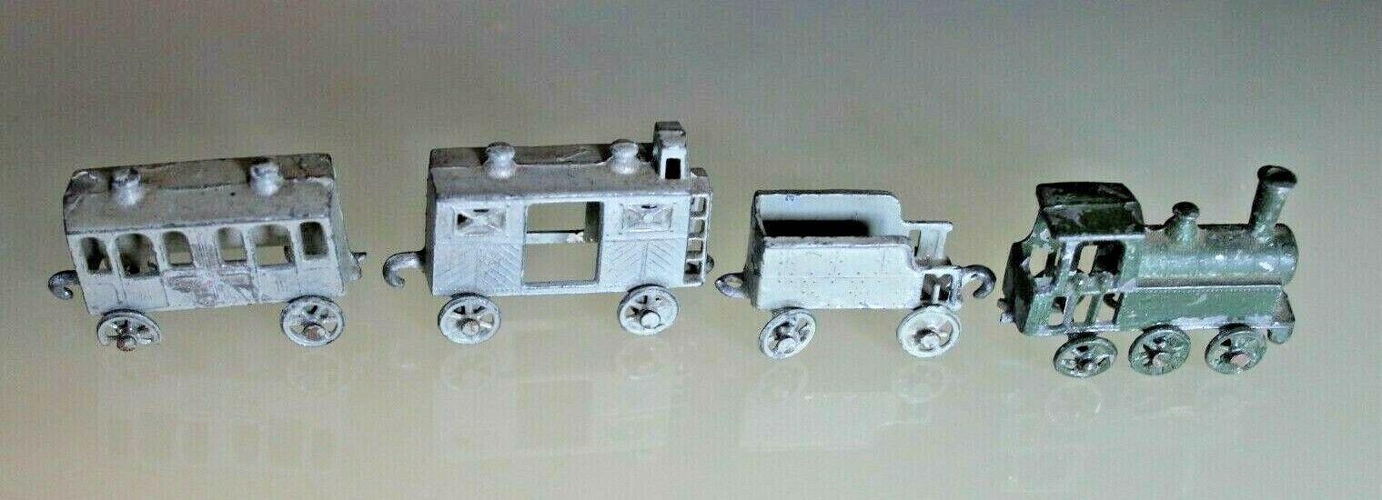 Tren Plomo Antiguo Sr Locomotora Vapor Tender + Camioneta + Coche Años 20