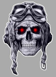 SKULL-HEAD-TETE-DE-MORT-WW2-AVION-PILOTE-HOT-ROD-AUTOCOLLANT-STICKER-15cm-SB076