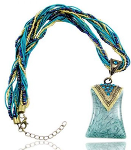 Handmade-Bead-and-String-Turquoise-Curved-Bohemian-Bronze-Necklace-N83