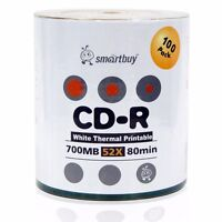 Smartbuy Cd-r 52x 700mb/80min White Thermal Hub Printable Blank Recordable Disc
